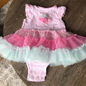 Little Me taffeta balloon dress onesie, 3M